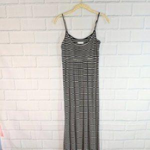 Calvin Klein Black/White Striped Pleated Maxidress